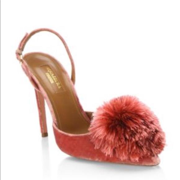 9f374dd9f Aquazzura Shoes | Powder Puff Slingback Pump Pink Velvet | Poshmark